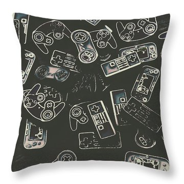 Gamers Of Arcade  Throw Pillow