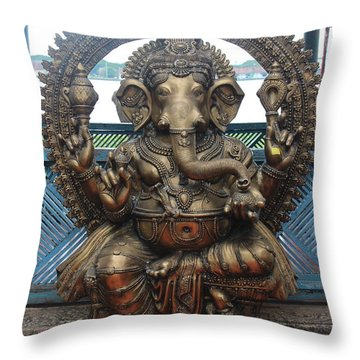 Ganapati Bronze Statue, Fort Kochi Throw Pillow by Jennifer Mazzucco