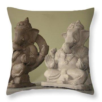 Ganapati Idols Throw Pillow by Mandar Marathe