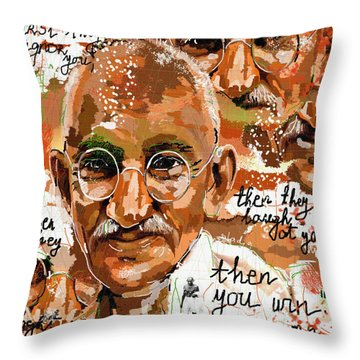 Gandhi Wins  Throw Pillow by Sladjana Lazarevic
