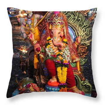 Ganesha Arati On Ganesh Chaturthi, Ganeshpuri Throw Pillow by Jennifer Mazzucco