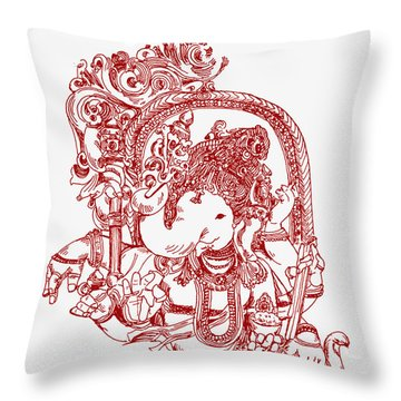 Ganesha Line Drawing Throw Pillow by Suhas Tavkar
