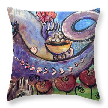 Ganesha With Poppies Throw Pillow
