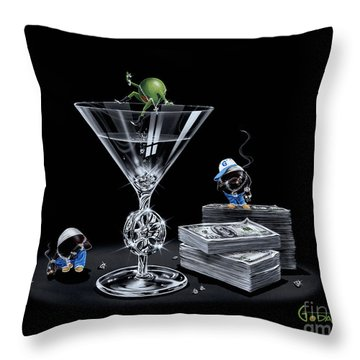 Gangsta Martini Livin' Large Throw Pillow