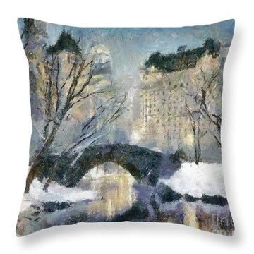 Gapstow Bridge In Snow Throw Pillow