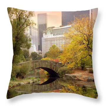 Gapstow Bridge Reflections Throw Pillow by Jessica Jenney
