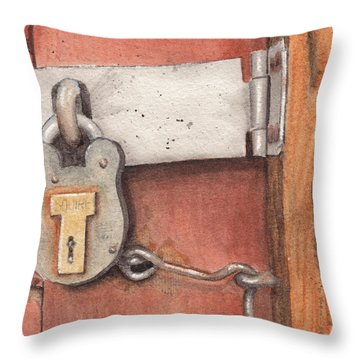 Garage Lock Number Four Throw Pillow by Ken Powers