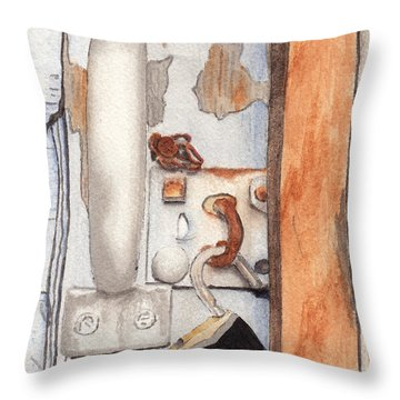 Garage Lock Number Three Throw Pillow
