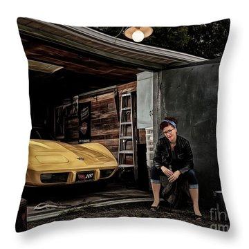 Garage Portrait Throw Pillow by Brad Allen Fine Art