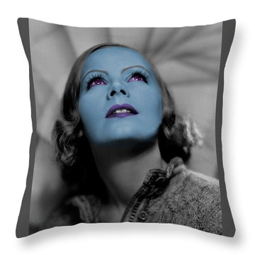 Garbo In Blue Throw Pillow