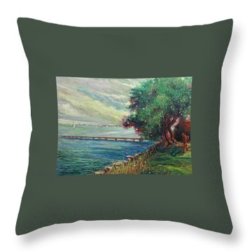 Throw Pillow featuring the painting Garda Lake -lago Garda by Walter Casaravilla