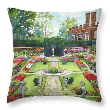 Throw Pillow featuring the painting Garden At Hampton Court Palace by Susan Herbst