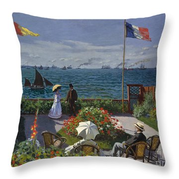 Garden At Sainte Adresse, 1867 Throw Pillow