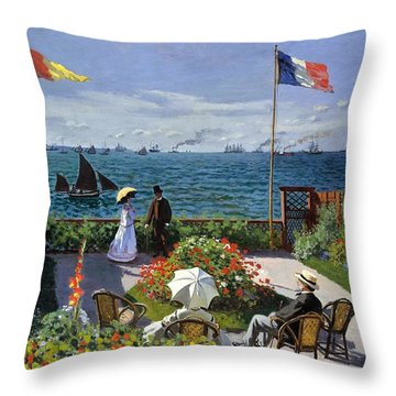 Garden At Sainte Adresse By Claude Monet Throw Pillow