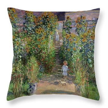 Garden At Vetheuil Throw Pillow