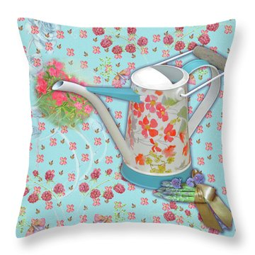 Throw Pillow featuring the mixed media Garden Blessings by Nancy Lee Moran