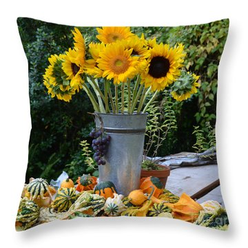 Garden Bounty In Yellow And Green Throw Pillow
