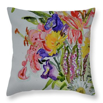 Throw Pillow featuring the painting Garden Bouquet by Beverley Harper Tinsley