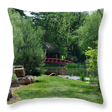 Garden Bridge Throw Pillow by Kathleen Stephens