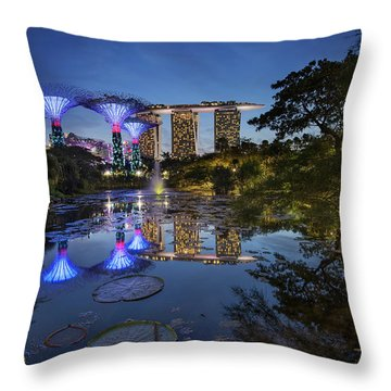 Throw Pillow featuring the photograph Garden By The Bay, Singapore by Pradeep Raja Prints