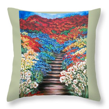 Red White And Blue Garden Cascade.               Flying Lamb Productions  Throw Pillow