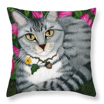 Garden Cat - Silver Tabby Cat Azaleas Throw Pillow