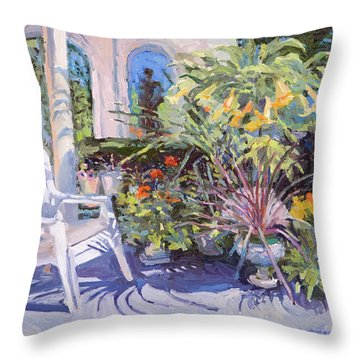 Garden Chair In The Patio Throw Pillow