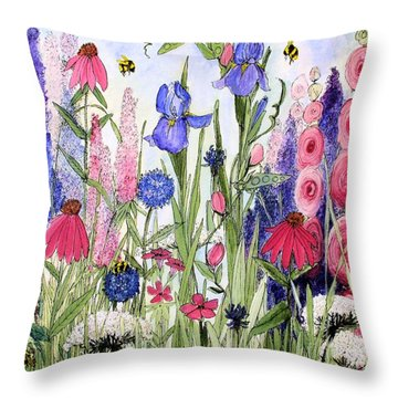 Garden Cottage Iris And Hollyhock Throw Pillow