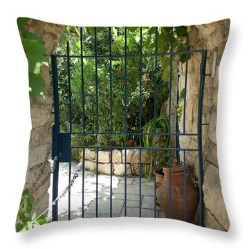 Garden Door Entrance Throw Pillow by Yoel Koskas