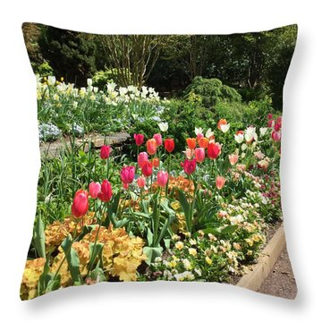 Garden Flowers Throw Pillow by Kay Gilley