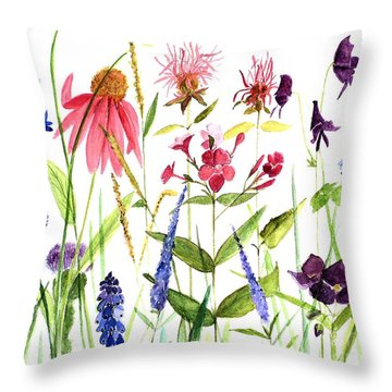 Throw Pillow featuring the painting Garden Flowers by Laurie Rohner