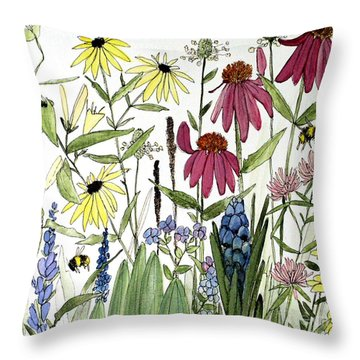 Garden Flowers With Bees Throw Pillow