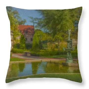 Garden Fountain At Ames Free Library Throw Pillow