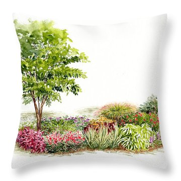 Garden Fresh Watercolor Painting Throw Pillow
