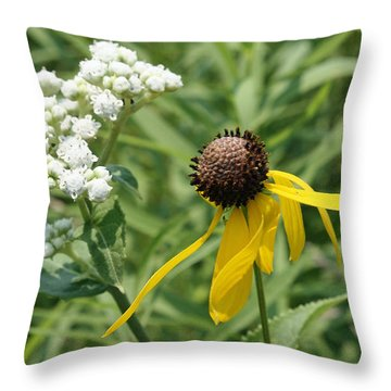 Throw Pillow featuring the photograph Garden Friends by Ellen Tully