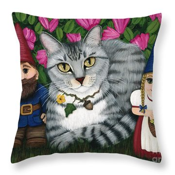 Garden Friends - Tabby Cat And Gnomes Throw Pillow