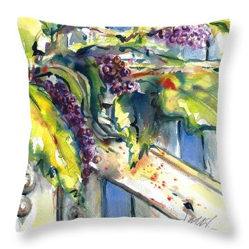 Garden Gate In Fall With Poke Berries  Throw Pillow