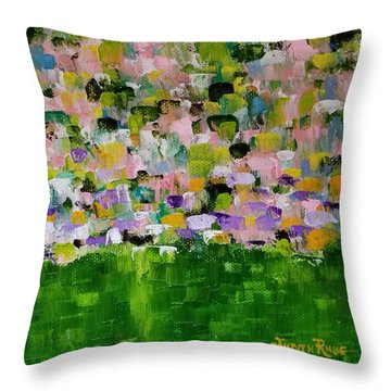 Throw Pillow featuring the painting Garden Glory by Judith Rhue