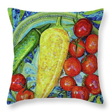 Throw Pillow featuring the mixed media Garden Harvest by Shawna Rowe