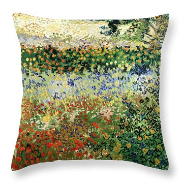 Throw Pillow featuring the painting Garden In Bloom by Van Gogh