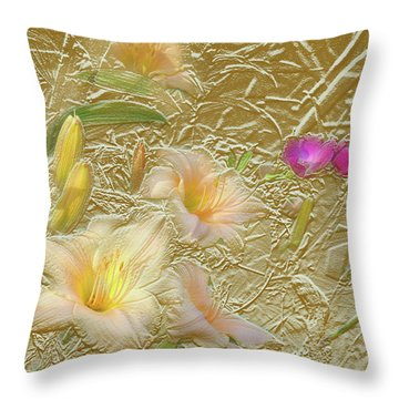 Garden In Gold Leaf2 Throw Pillow