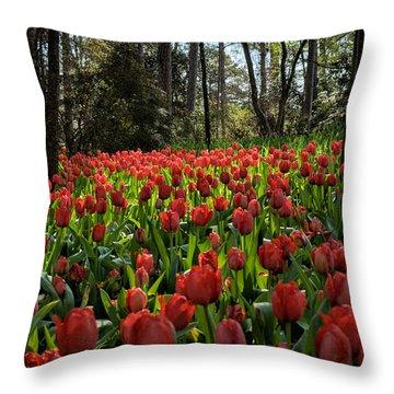 Garden In Red Throw Pillow