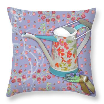 Throw Pillow featuring the mixed media Garden Joys In Lovely Lavender by Nancy Lee Moran