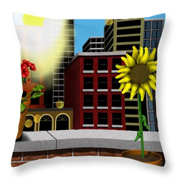 Garden Landscape II - Across The Urban Jungle Throw Pillow