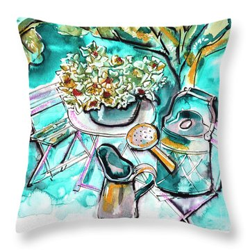 Garden Life Illustration Throw Pillow