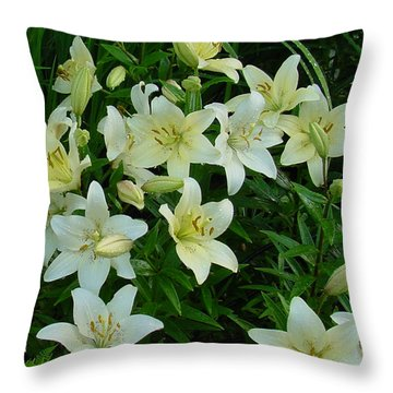 Garden Lilies Throw Pillow by Shirley Heyn
