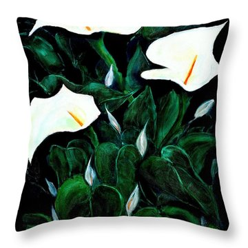 Garden Lilies Throw Pillow