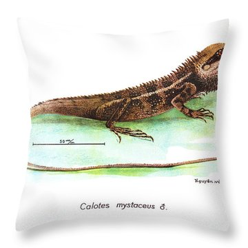 Garden Lizard Throw Pillow