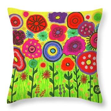 Garden Of Blooming Brilliance Throw Pillow