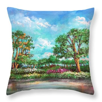 Throw Pillow featuring the painting  Summer In The Garden Of Eden by Randol Burns